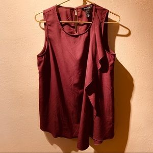 Burgundy Chiffon Sleeveless Tunic W/ Ruffled Layer